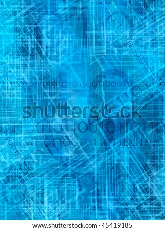 blue abstract background with binary code - stock photo