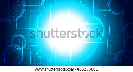 Blue abstract background with copy space on white circle