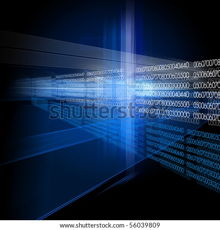 Blue abstract background with luminous stripes - stock photo