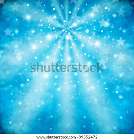 blue abstract background with stars - stock photo