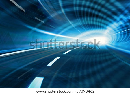 Blue Abstract blurred speed motion in urban highway road tunnel, moving toward the light. Computer generated illustration - stock photo
