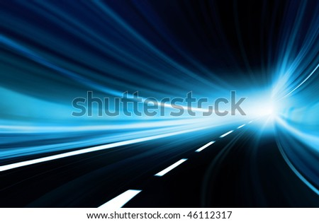 Blue Abstract blurred speed motion in urban highway tunnel, moving toward the light. Computer generated illustration. - stock photo