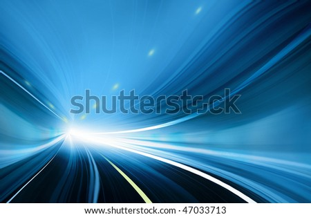 Blue Abstract blurred speed motion in urban highway tunnel, moving toward the light. Computer generated technology abstract illustration. - stock photo
