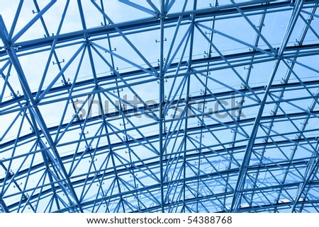 Blue abstract Ceiling in office centre