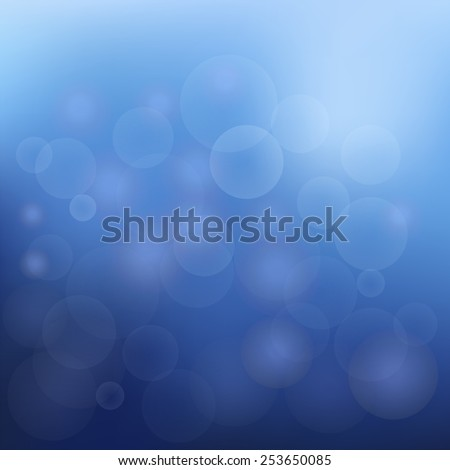 Blue Abstract Christmas Background With White Snowflakes. Lights On Blue Background. - stock photo