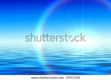 blue abstract composition on sea - stock photo
