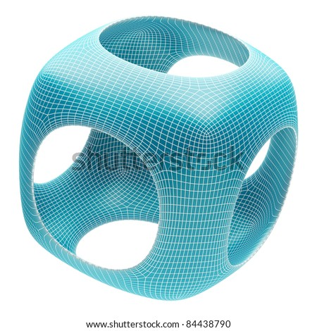 Blue Abstract Cube - stock photo
