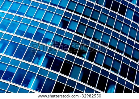 Blue abstract diagonal crop of modern office skyscraper