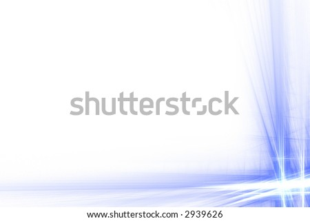 Blue abstract double flash frame over white with copyspace - stock photo