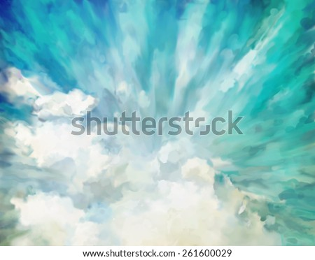 Blue abstract dramatic artistic colorful vintage oil painting background - stock photo