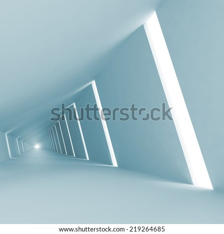 Blue abstract empty 3d interior background with corridor perspective - stock photo