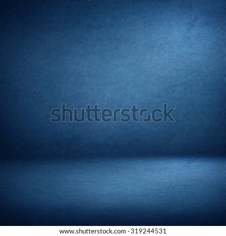blue abstract interior background suede paper texture, empty room photo studio wall paper and floor - stock photo