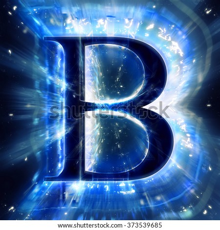 Blue Abstract Letter B - stock photo