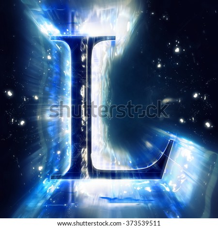 Blue Abstract Letter L - stock photo