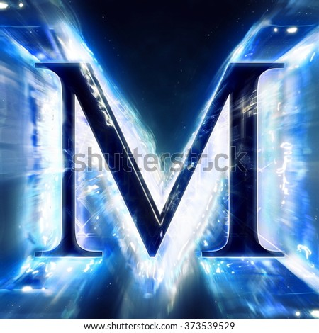 Blue Abstract Letter M - stock photo