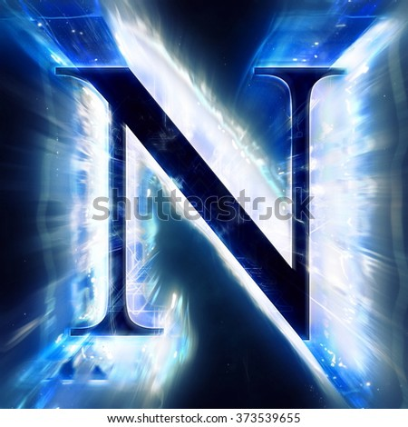 Blue Abstract Letter N - stock photo