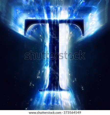 Blue Abstract Letter T - stock photo