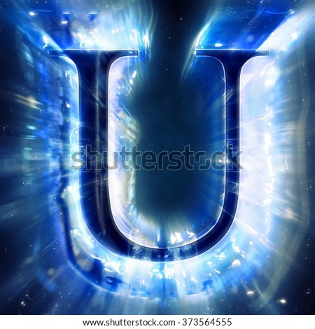 Blue Abstract Letter U - stock photo