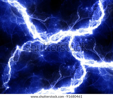 Blue abstract lightning background - stock photo
