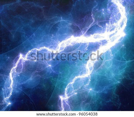 Blue abstract lightning storm - stock photo