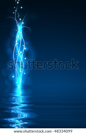 Blue abstract lights in the dark, reflected on a water surface - stock photo