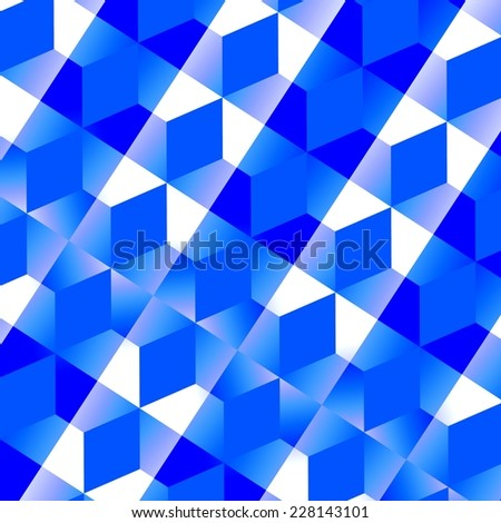 Blue Abstract Mesh Background - Monochrome Geometric Pattern - White Mosaic Tiles - Pixel Diamond Texture - Digitally Generated Image - Digital Art - Creative Design - Computer Graphic - Tiled Floor - stock photo