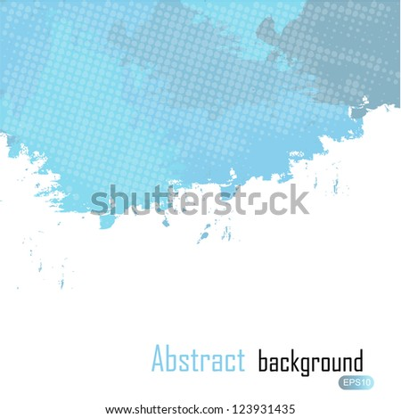 Blue abstract paint splashes illustration.  background with place for your text. - stock photo