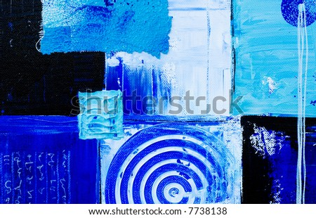 blue abstract painting, artwork is created and painted by myself - stock photo