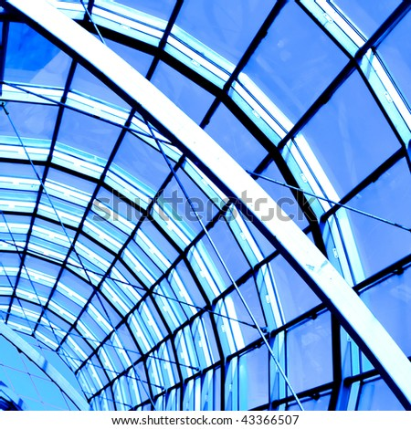 blue abstract roof inside office center