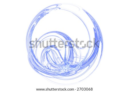 Blue abstract round shape over white - stock photo