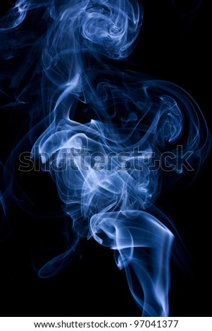 blue abstract smoke on the black background