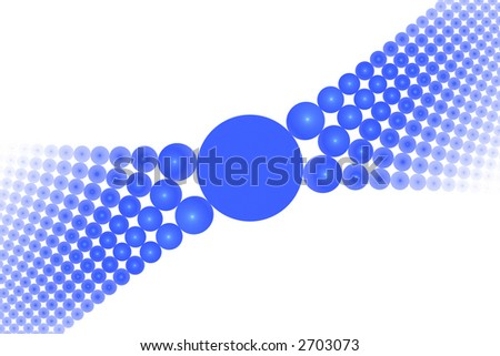 Blue abstract spheres large symmetric background over white - stock photo