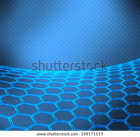 Blue abstract technical or scientific background with graphene molecular structure - stock photo