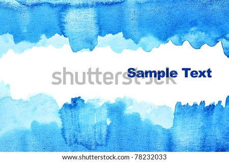 Blue abstract watercolor background with space for your own text - stock photo