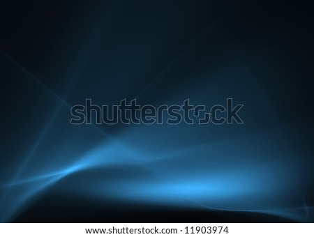 Blue abstract waves on a black background. - stock photo