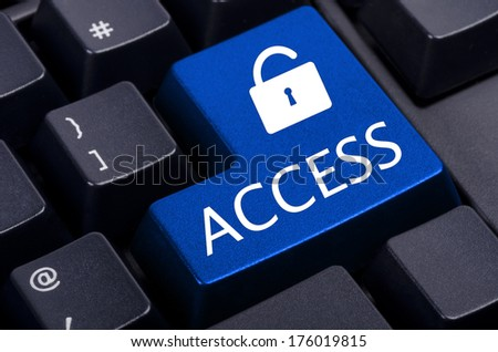 blue access button on a black computer keyboard - stock photo