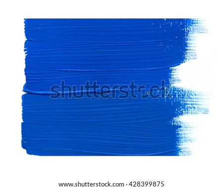 Blue acrylic paint stain isolated on white background. Dynamic Brush Stroke. Art Abstract Space for Text