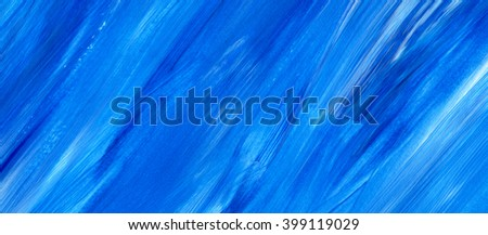 Blue acrylic paint stain texture, background. Dynamic Brush Stroke. Art Abstract Space for Text - stock photo