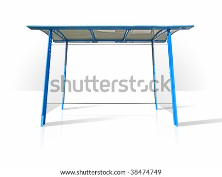 blue advertising wall - stock photo