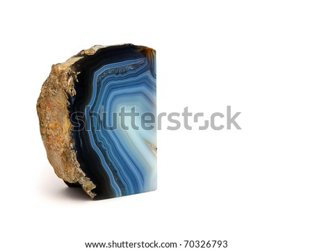 Blue Agate Rock on white background - stock photo