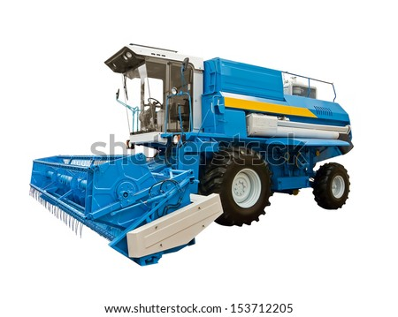 Blue agricultural harvester - stock photo