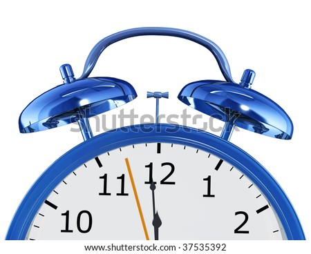 blue alarm clock illustration made in 3D isolated