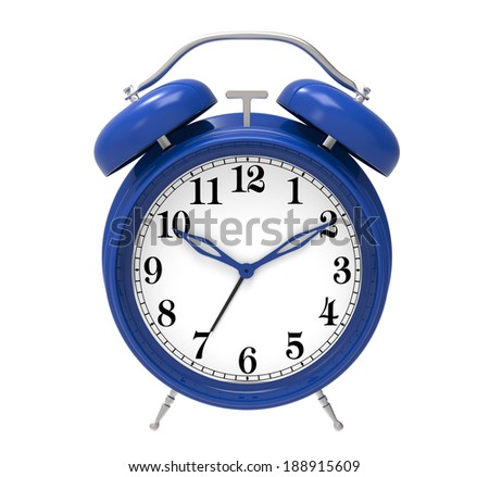 blue alarm clock isolated on white background - stock photo