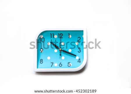 Blue alarm clock  isolated on white background,Close up Blue alerm clock clipping path  - stock photo