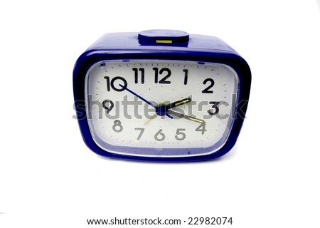Blue alarm clock on a white background