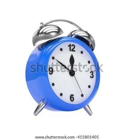 Blue alarm clock on white. 3d rendering. - stock photo