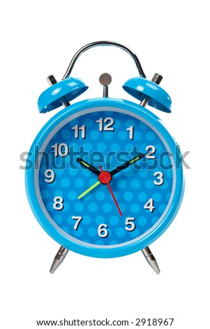 Blue alarm clock with bells on top isolated over white background - stock photo