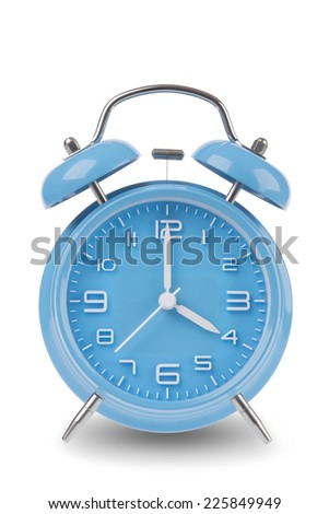 Blue alarm clock with the hands at 4 am or pm isolated on a white background, One of a set of 12 images showing the top of the hour starting with 1 am / pm and going through all 12 hours - stock photo
