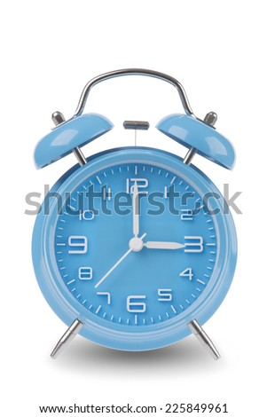 Blue alarm clock with the hands at 3 am or pm isolated on a white background, One of a set of 12 images showing the top of the hour starting with 1 am / pm and going through all 12 hours - stock photo