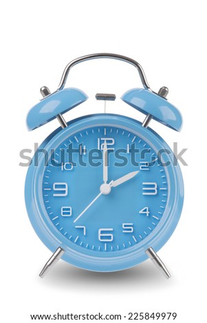 Blue alarm clock with the hands at 2 am or pm isolated on a white background, One of a set of 12 images showing the top of the hour starting with 1 am / pm and going through all 12 hours - stock photo